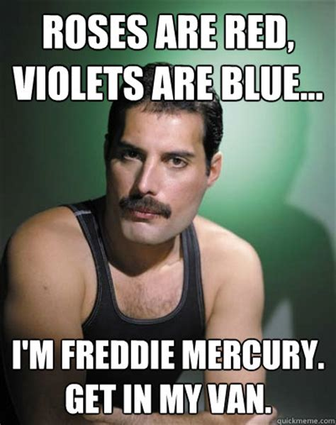 Freddie Meme - roses are red violets are blue i m freddie mercury get in my van freddie mercury quickmeme