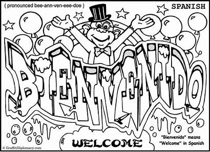 Graffiti Coloring Pages Words Word Spanish Alphabet
