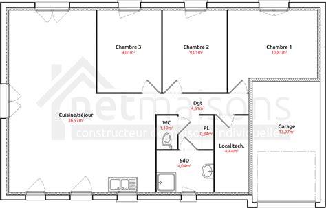 plan maison 4 chambres plain pied plan maison 110m2 plain pied 3 chambres ventana