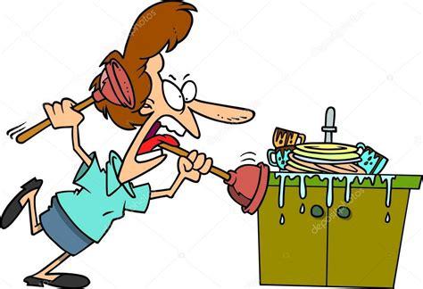 dessin evier cuisine dessin animé bouché un évier de cuisine image
