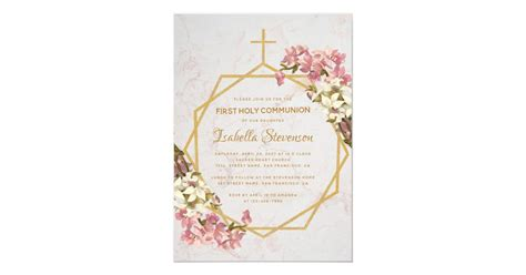 Floral Gold Orchids Marble First Holy Communion Invitation
