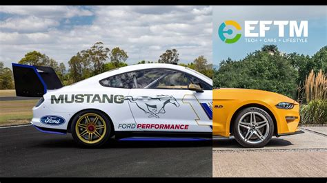 ford mustang v8 supercar compared to mustang road car youtube