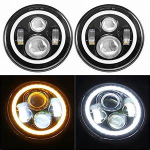 7 U0026quot  Led Headlights Bulb With White Halo Angel Eye Ring Drl