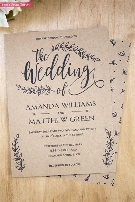 rustic wedding invitation template leaf design press