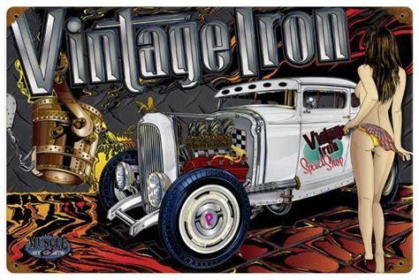 rod garage show rod rat rod pin up metal sign cave garage
