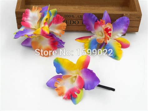 3pcs/lot Colorful Rainbow Fabric Orchid Hair Clip Hat