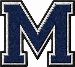 Presentation alphabets navy blue varsity letter m for Varsity letter m