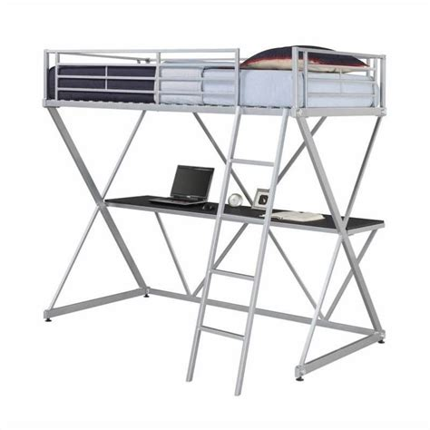 metal bunk bed with desk dhp x shaped metal twin loft bed bunk beds in silver with desk