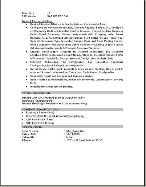 Sap Sd End User Experience Resume by Sap Fico Consultant Resume