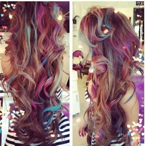 Messy Brown Curls With Strands Of Hair Streaked With