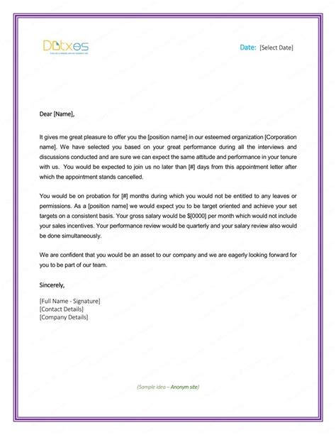 format appointment letter employee sample  write