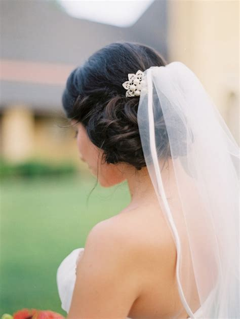 side swept side wedding hair  veil