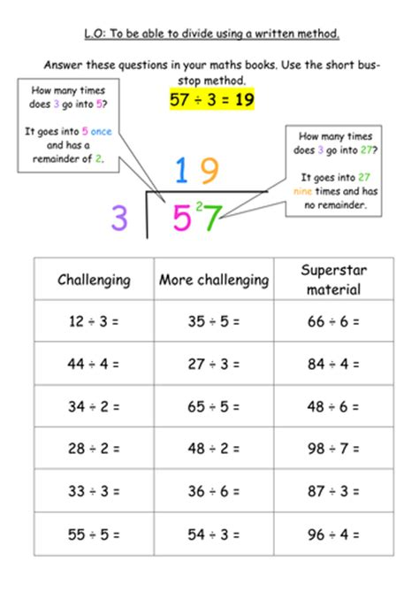 ks2 division written method bus stop method by jodieclayton teaching resources