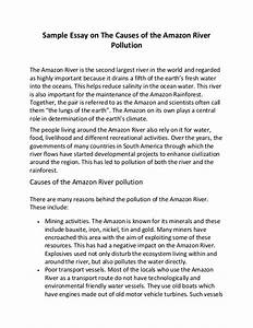 Sample Essay On The Causes Of The Amazon River Pollution
