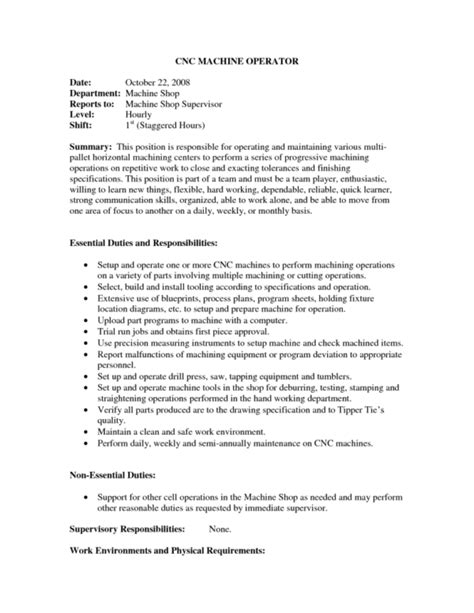 Machinist Resume Summary by Sle Machine Operator Resume Unforgettable Machine Operator Resume Exles To Stand Out