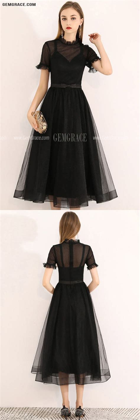 [$67.19] Vintage Black Tulle Tea Length Party Dress With ...