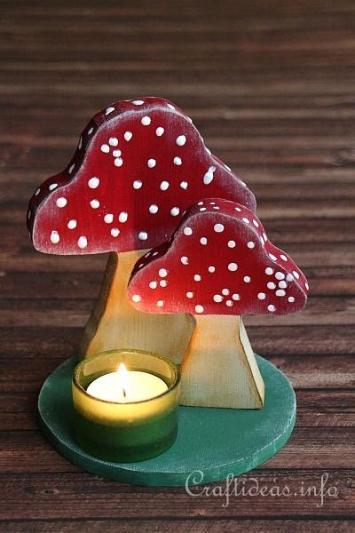 wood craft  autumn wooden toadstools table decoration