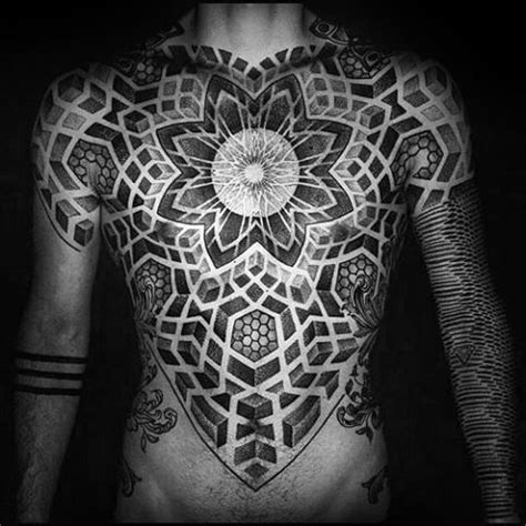 geometric chest tattoos  men upper body design ideas