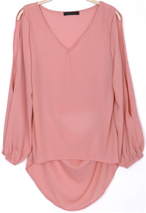 pink blouses pink split sleeve v neck embroidered chiffon blouse
