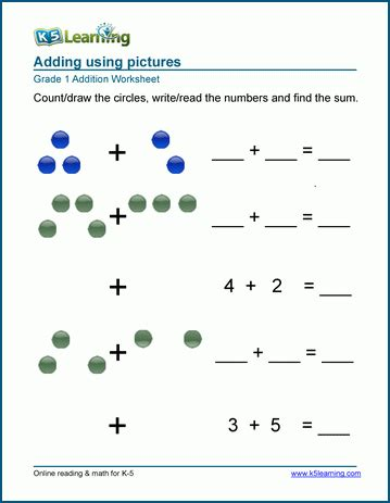 1st grade math worksheet addition with pictures or