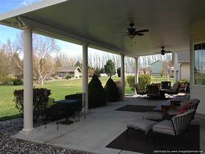 Insulated Patio Cover With Ceiling Fans And Columns