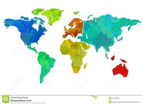 colorful world map colourful world map stock illustration image 44132880