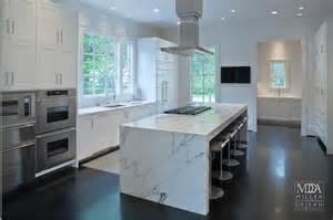 stainless kitchen islands waterfall island modern kitchen mdd architects
