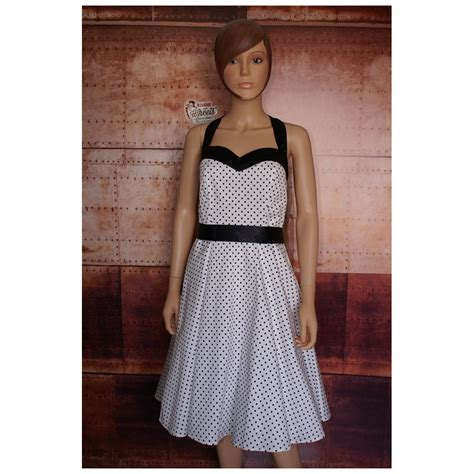 robe pin up blanche 224 pois noirs retro wheels