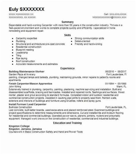 building maintenance worker resume sle livecareer