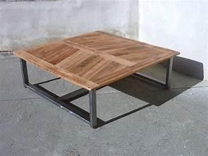 Table Basse Bois Acier : table basse en vieux bois et acier furniture pinterest wood table product design and woods ~ Teatrodelosmanantiales.com Idées de Décoration