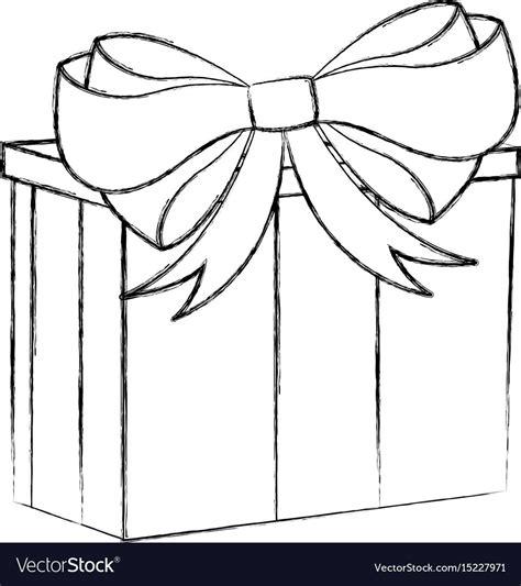 cartoon   sketched black  white christmas gift box