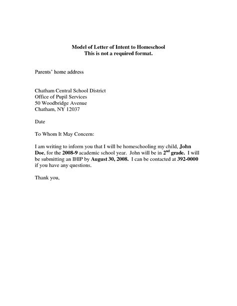 homeschool letter of intent best photos of letter of intent of work sle letter 22131