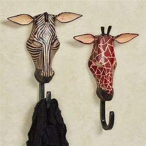 Exotic tribe zebra and giraffe wall hook set