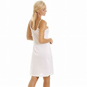 white nightwear underwear full slip chemise With fond de robe coton