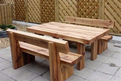 kitchen collection atascadero oak table and bench railway sleeper bench set garden sets