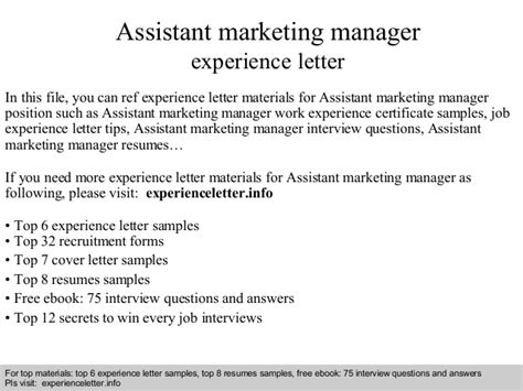assistant marketing manager experience letter