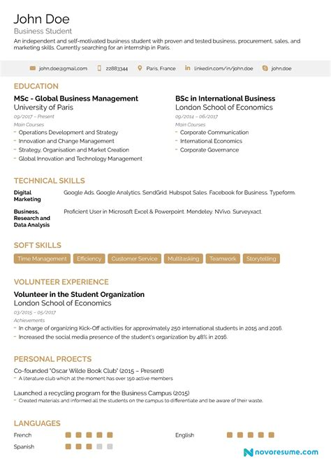 internship resume examples  writing guide