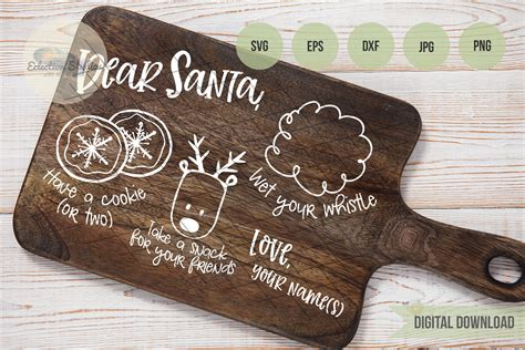 dear santa doodle cookies  santa tray svg  cut files design bundles