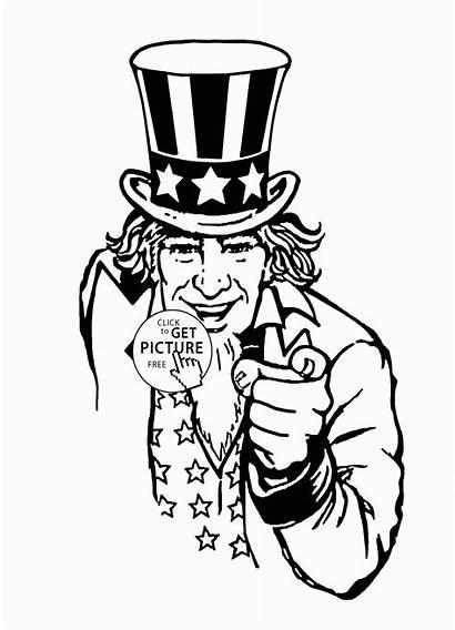 Uncle Coloring Sam Tony Cartoon Template Printable