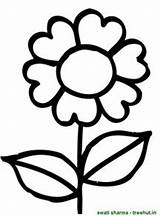Coloring Flower Clip Simple Flowers Colouring Natal Drawing Clipground sketch template