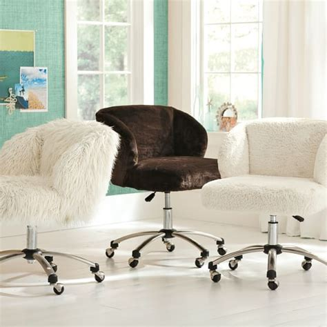 white fur office chair ivory sherpa faux fur wingback desk chair pbteen