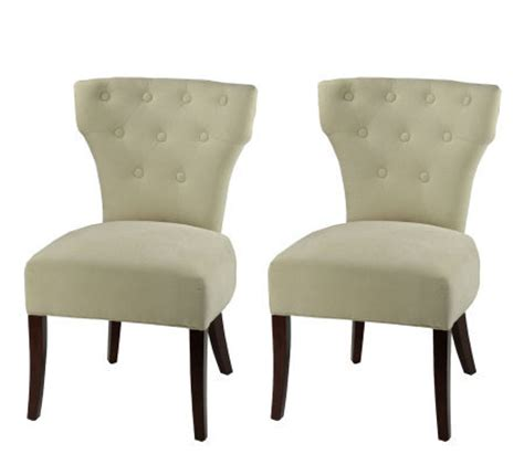 side plush linen dining chair with button trim set of 2