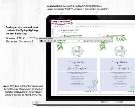 Botanical Greenery Wedding Invitation Set Printable