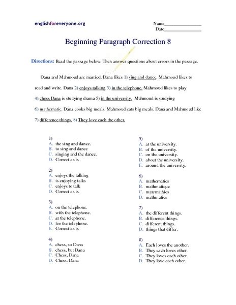 paragraph correction lesson plans worksheets reviewed by teachers