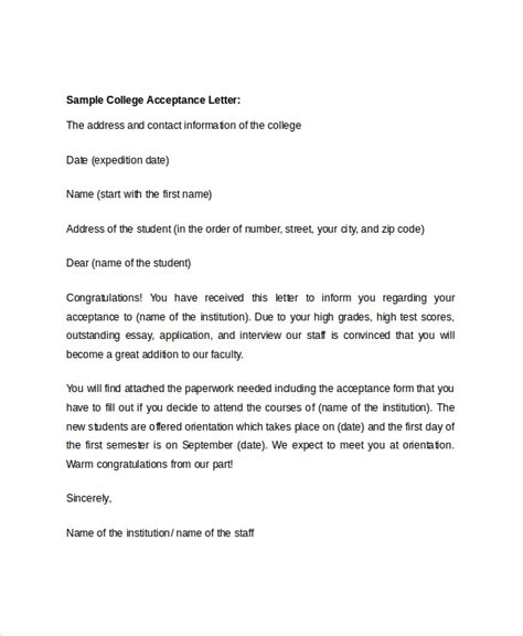 sample college acceptance letters  word