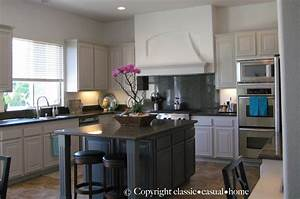 Classic o casual o home painted kitchen cabinets before for Painted kitchen cabinets before and after photos