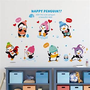 cute penguins family wall decal stickers happy penguin With cute penguin wall decals ideas