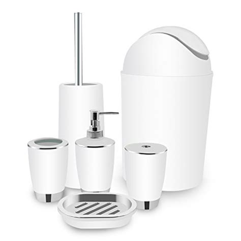white bathroom accessories set bath toilet brush