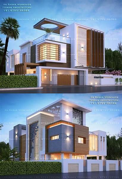 Architecture Plans Contemporary Bungalow Exterior Elevation Plan