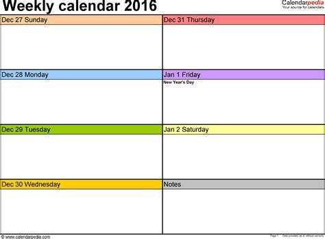 weekly calendars   excel   printable templates